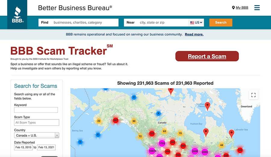 Better Business Bureau Scam Tracker homepage